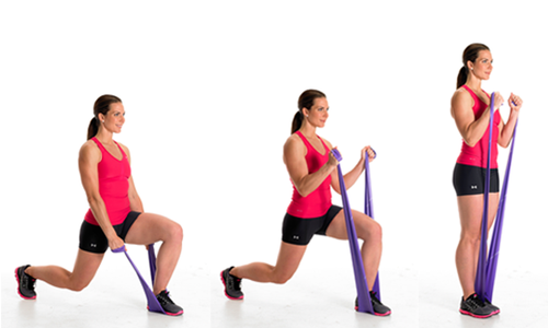 A woman using resistance bands